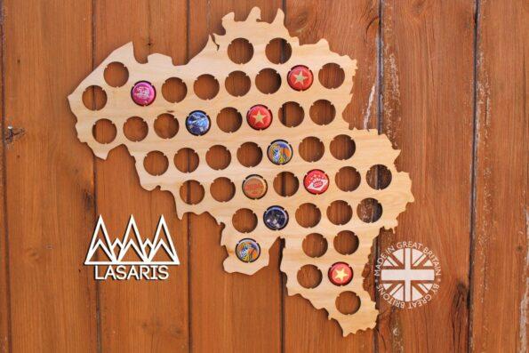 Belgium Beer Cap Map Bottle Cap Map Collection Gift Art Gift for Him