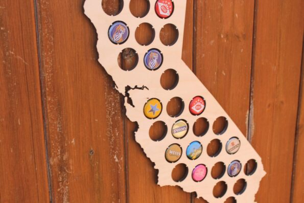 California Beer Cap Map Bottle Cap Map Collection Beer Cap Gift Art
