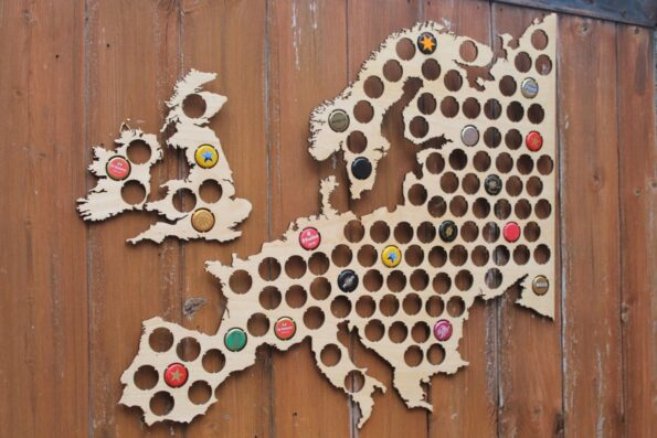 Europe Beer Cap Map Bottle Cap Holder Collection Gift Art