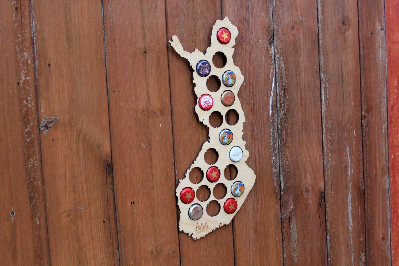 Finland Beer Cap Map Bottle Cap Map Collection Art Gift
