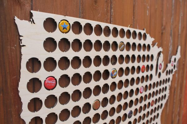 Giant USA Beer Cap Map Large Bottle Cap Holder Collection Gift Art