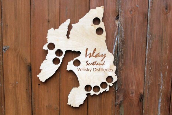 Islay Whisky Bottle Cap Map Collection Scotch Whiskey Gift Art
