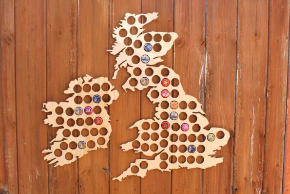 Large UK Beer Cap Map Bottle Cap Holder Collection Gift Art