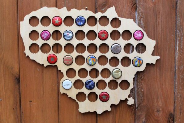 Lithuania Beer Cap Map Bottle Cap Map Collection Gift Art