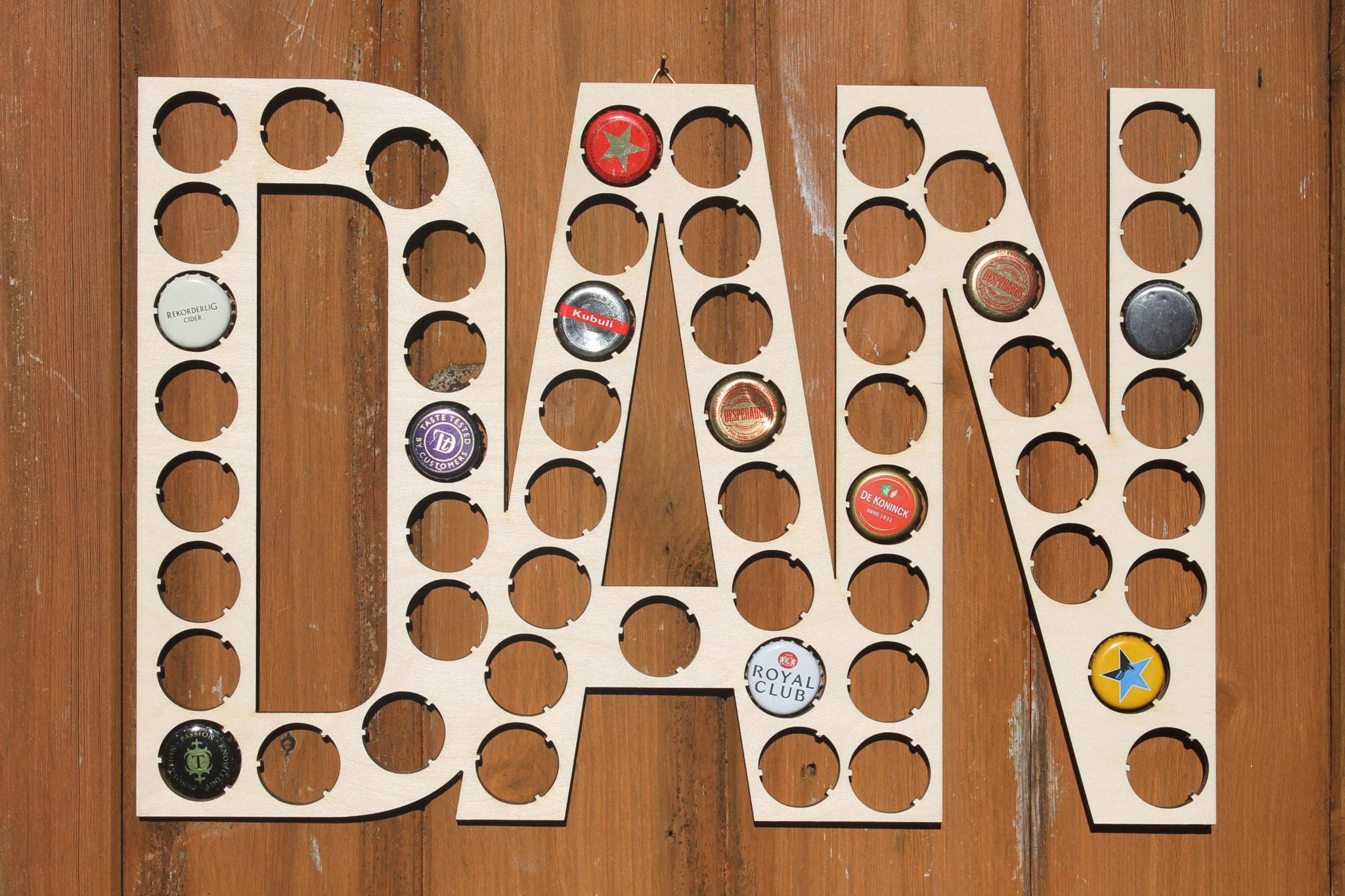 Personalised Name or Word Bottle Cap Holder Custom Word Collection Beer Cap  Gift for Him