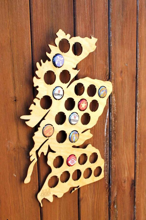 Scotland Beer Cap Map Bottle Cap Map Collection Gift Art Collector Wall Hanger