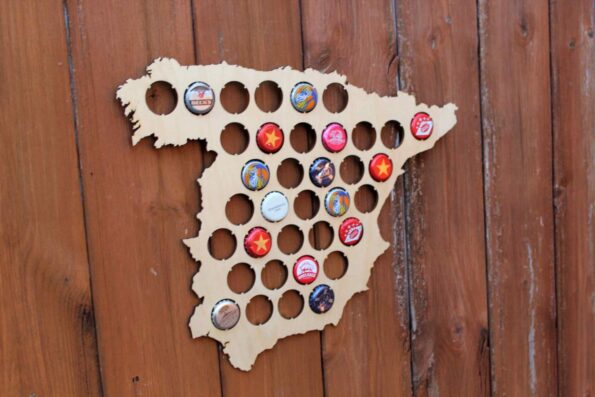 Spain Beer Cap Map Bottle Cap Map Collection Beer Cap Gift Art